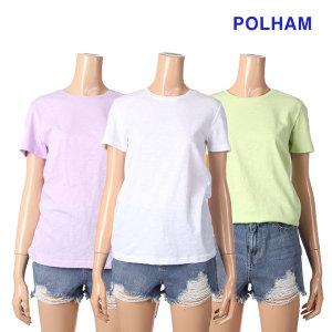 여성_라운드 슬럽 무지 반팔 티셔츠(PHZ2TR2830)