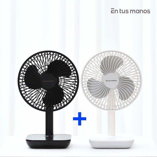 1+1 무선 충전식 휴대용 선풍기 리베로 (흰+검) /탁상