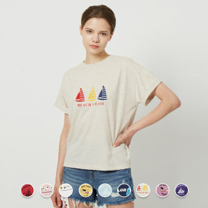 지오다노 399507 여 크롭 프린트 반팔 티셔츠