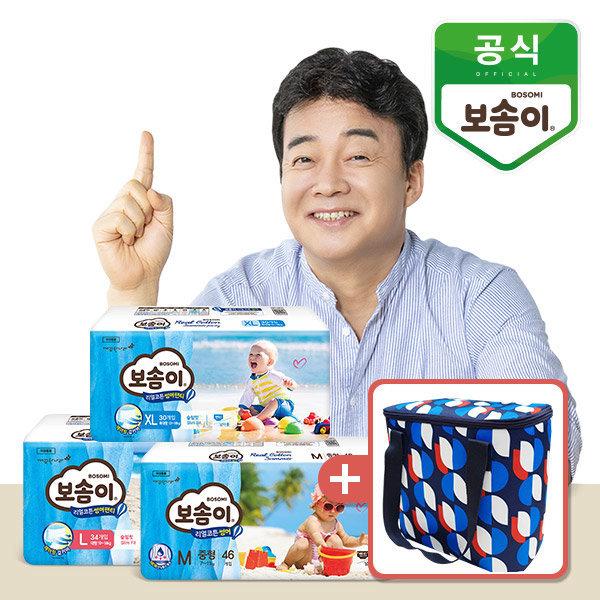 썸머 팬티형 기저귀 대형 남아 34매 x 3팩 + 보냉백