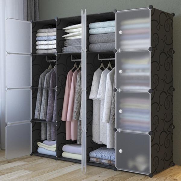 DIY 복합 선반 수납장(10칸)/드레스룸 행거 수납장