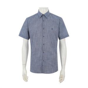 슬림핏 솔리드 네이비 반소매 와이셔츠 Q9E12CU