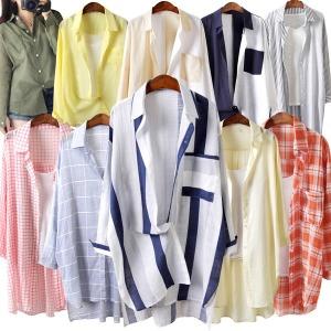 여름신상 시원한 셔츠 루즈핏 체크 스트라이프 롱셔츠