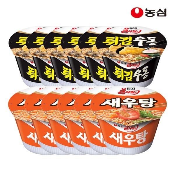 튀김우동큰사발6개+새우탕큰사발6개(총12개)