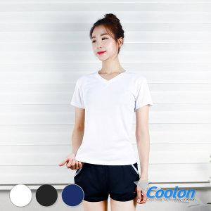쿨론 브이넥 쿨론티 기능성 반팔티 여성브이넥 티셔츠