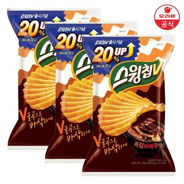 오리온 스윙칩V 폭립바베큐 72gx3개