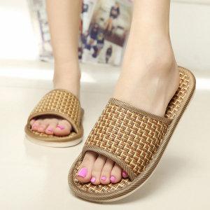 천연 등나무 슬리퍼 여성 남성 여름 실내화 샌들 신발