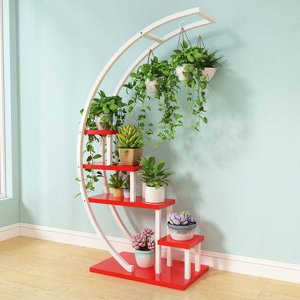 철제 화분받침대 계단식화분대 레드+화이트프레임