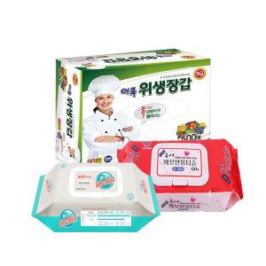 위생장갑 500매+깨끗한물티슈 60매+소독티슈 80매