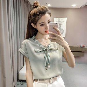블라우스 봄 여름 셔츠 쉬폰 반팔 반소매 리본 여성