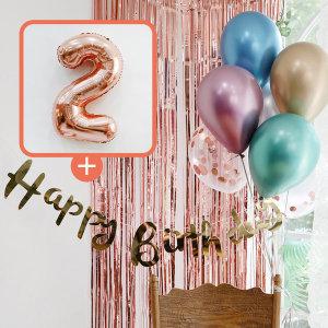 생일파티 4종세트(메탈크롬)+숫자풍선(로즈골드)_2