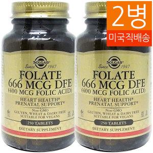 2병 Solgar 솔가 엽산 Folate 666 mcg DFE 250탭/1081