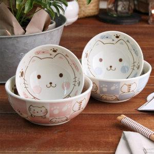 오반자이 키즈네코 공기 대접 세트 유아그릇 일본식기