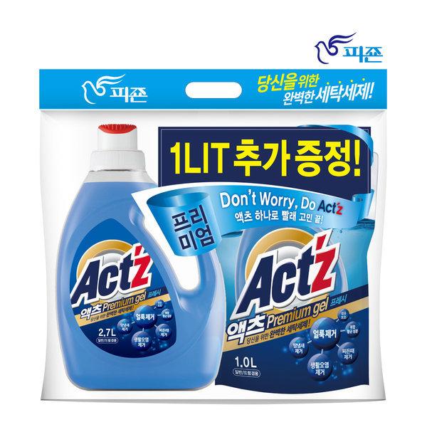 액츠 프리미엄젤 액체세제 세탁세제 2.7L+1L 프레쉬