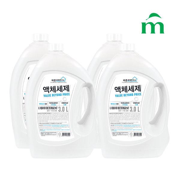 바른세제연구소 액체세제(겸용) 3L  4개
