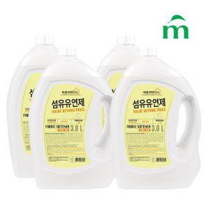 바른세제연구소 섬유유연제(코튼) 3L  4개