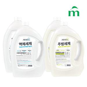 바른세제연구소 세제 2종 액체세제 2개+주방세제 2개 - 상품 이미지