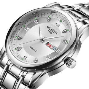 WLISTH 남성용 비즈니스 스테인리스 쿼츠 손목시계