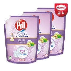 프릴 맑은식초 달콤한 리치향 1L x3개 주방세제