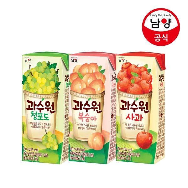과수원 사과/청포도/복숭아 190ml 24팩 과일음료