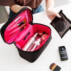 화장품 메이크업 파우치 가방 블랙 내피 레드