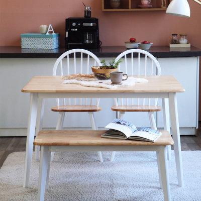 [아씨방] 아씨방가구 버윈 화이트 4인 식탁세트(의자+벤치)