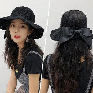 리본와이어햇 썬캡 여성 여름 모자 밀짚모자 비치모자