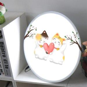 (꾸밈)LED액자45R_사랑스런고양이두마리