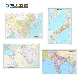 중국 일본 인도 중동 지도 소형 코팅형 전도