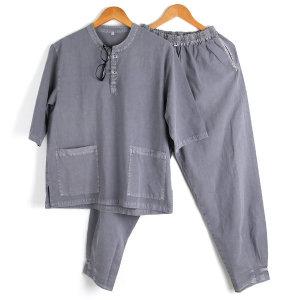 면100% 여름 남성 생활한복 공용 개량한복 회색 SET