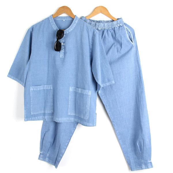 면100% 여름 남성 생활한복 공용 개량한복 소라색 SET