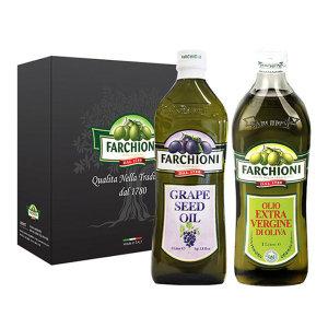 (무료배송)파르키오니 올리브오일1L 1병+포도씨유1L 1병 선물세트/ 얌