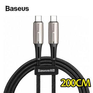 물방울 LED램프 Type-C to Type-C QC3.0 60W 고속PD충전 케이블 2M USB-C 갤럭시S10 A90 5G/ 베이스어스