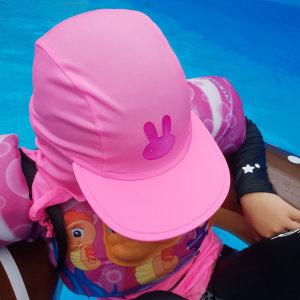 체온감지 유아 아쿠아 캡 플랩캡 아동 수영모자 썬캡