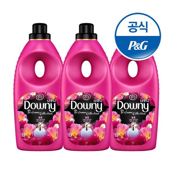 초고농축 다우니 퍼퓸 섬유유연제 핑크 블룸 1L 3개