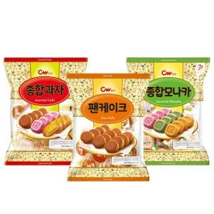 청우 팬케이크 350g+종합과자 350g+종합모나카 350g