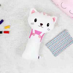 유아 어린이 애착 안전벨트 인형 미오(흰고양이)