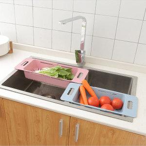 슬라이드형 과일 야채 싱크대 채반 길이조절 가능