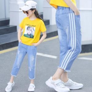 주니어의류 아동 여아찢청팬츠 데님바지 초등학생8416