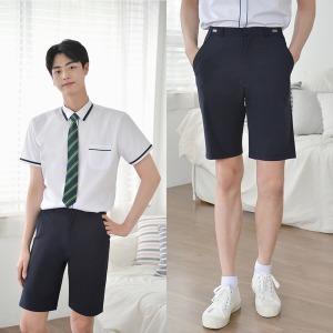 허리조절  스판 네이비 교복 반바지(남자)