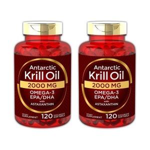 2개 세트 칼라일 크릴오일 2000 mg 남극 120 소프트젤