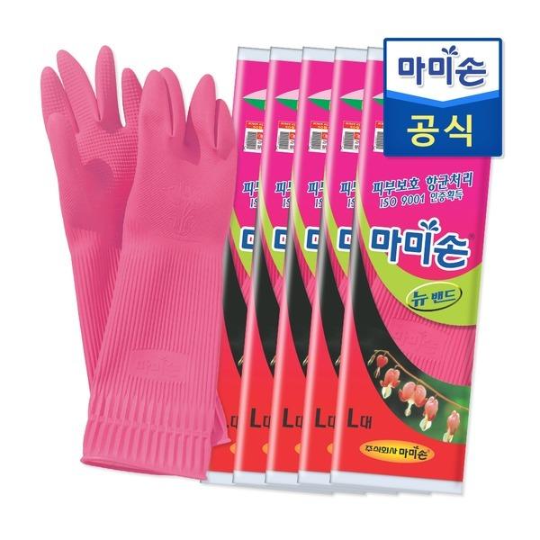 마미손 고무장갑 뉴밴드(대형) 5개묶음 라텍스/김장