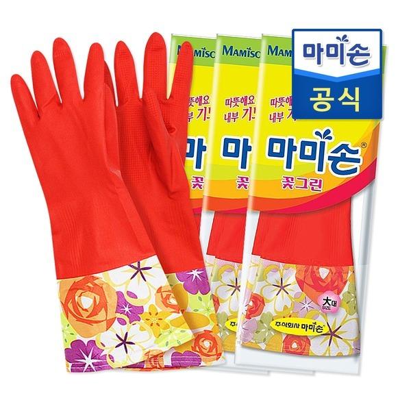 마미손 고무장갑 기모(대형) 3개 /라텍스/김장 /태화