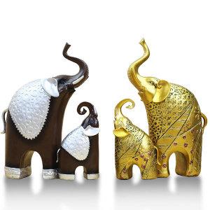 행복 코끼리장식품 부부 황금 조각상 도자기 풍수 복