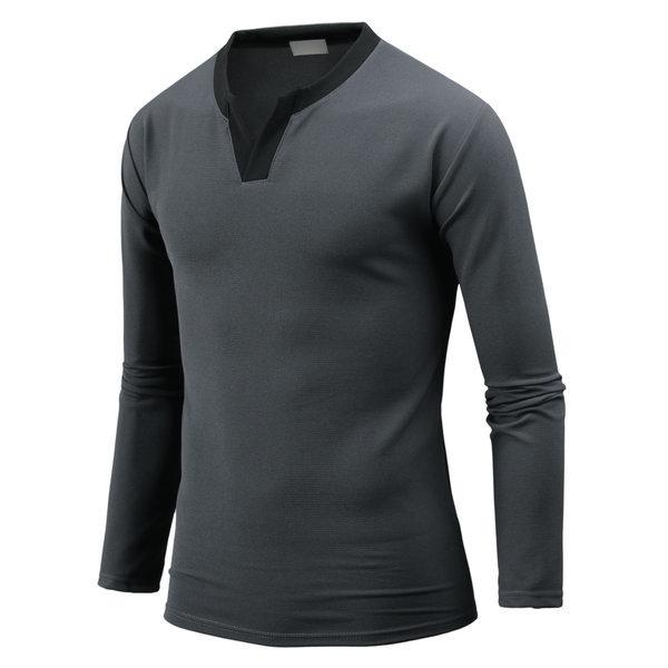 남자 티셔츠 옷 트임네크배색 남성 긴팔티 ts4233