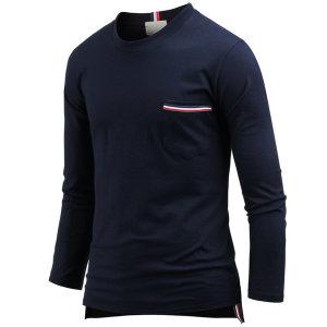남자 남성 티셔츠 옷 긴팔 단추슬릿 라운드티 ts3305
