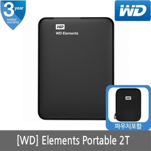 WD NEW ELEMENTS PORTABLE 2T 외장하드 블랙 USB3.0