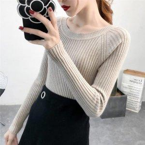 여성 니트티 라운드티 골지 긴팔 스웨터 슬림핏 DD38