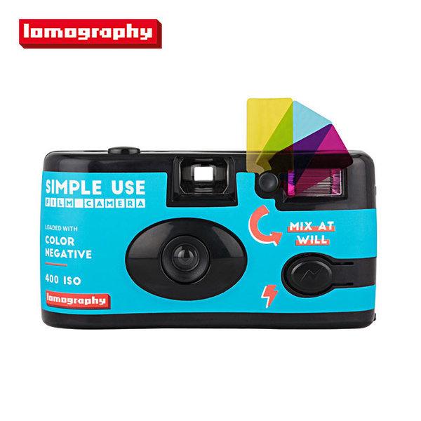 심플유즈카메라 컬러(블루) + ISO400필름 3롤1팩 세트
