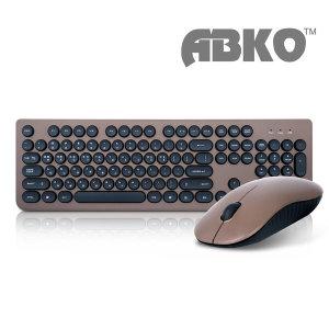ABKO WKM810 무선 키보드 마우스 세트 브라운